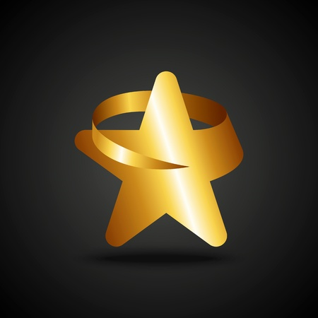 Golden star icon on dark background Vector