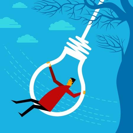risky innovation: swinging a businessman