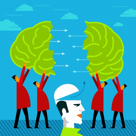 people group joint a brain - idea concept Vector