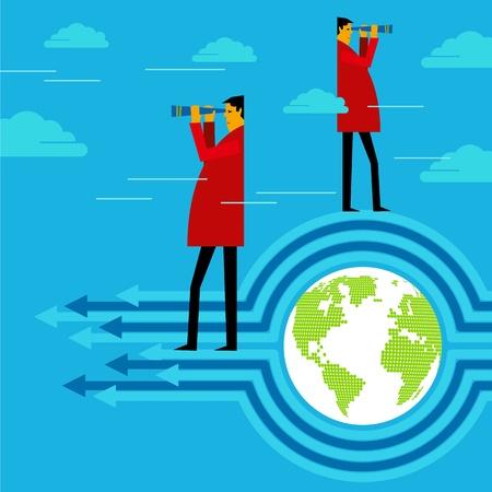 sales executive: Empresario busca m�s oportunidades desde la parte superior Vectores