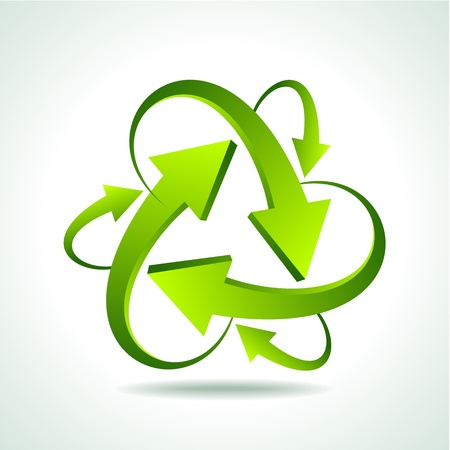 conciencia ambiental: ilustraci�n de reciclaje flecha en el fondo aislado