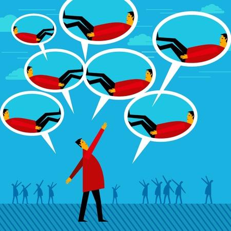 teamleider: teamleider chat met vele werknemer