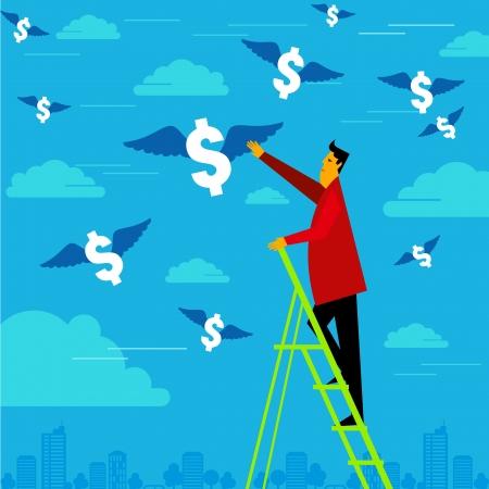 flying money: businessman reach the money Illustration