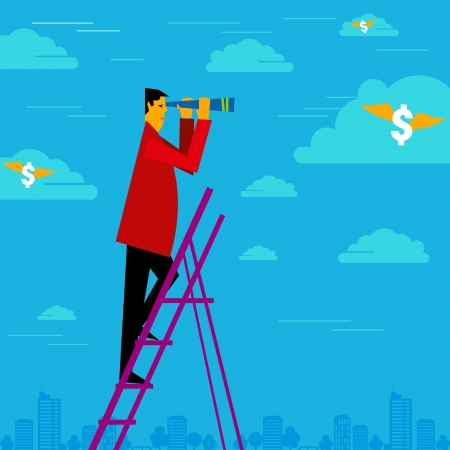look for: happy businessman holding binoculars and watching the money cloud Illustration