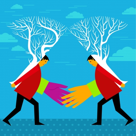 merger: financial merger concept with two trees connecting Illustration