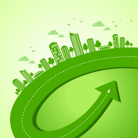 sustainable development: green earth- ecology concept Illustration