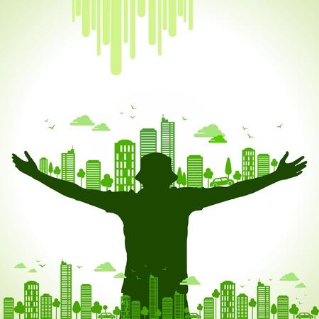 desarrollo sustentable: verde tierra-ecología concepto