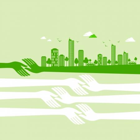 garden city: verde tierra-ecolog�a concepto