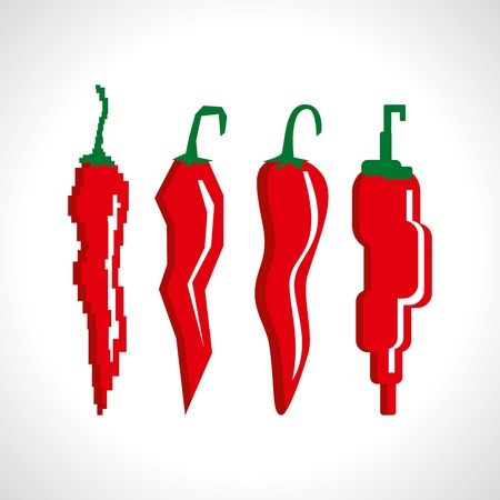 capsicums: Retro illustration of red chili peppers Illustration