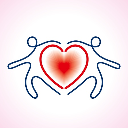 harmonious: People Connected a heart Symbol Illustration