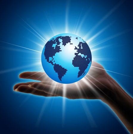 Image of hand holding earth planet against illustration