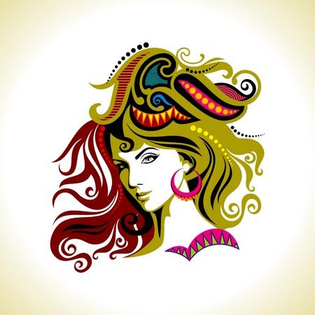 schöne Mode Frau Portrait Illustration