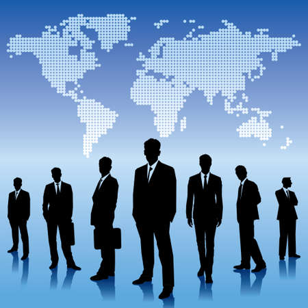 business people shaking hands: global business background
