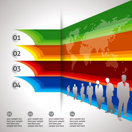 set of businessman: Global business background template  Illustration