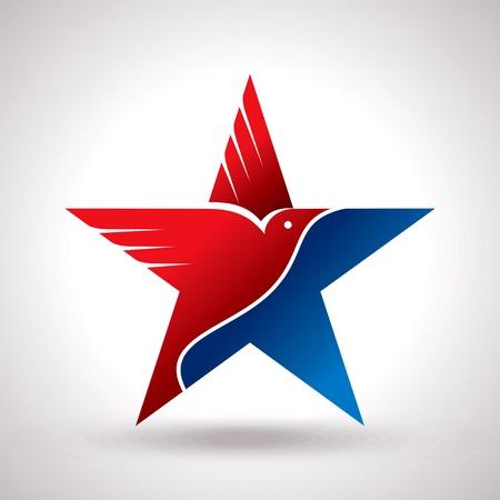 adler silhouette: Amrical Flagge und Adler Symbolvektor