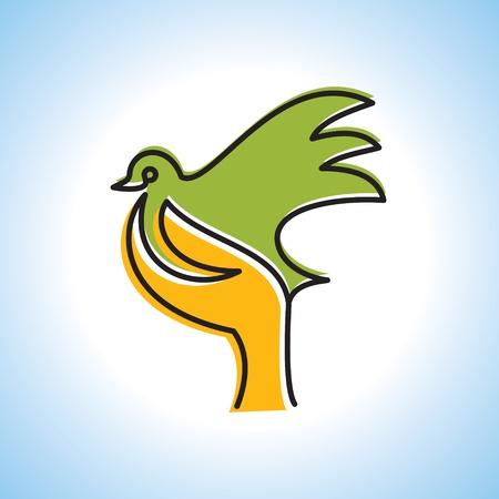 fliegen von Vogel zu Hand, kreative Idee