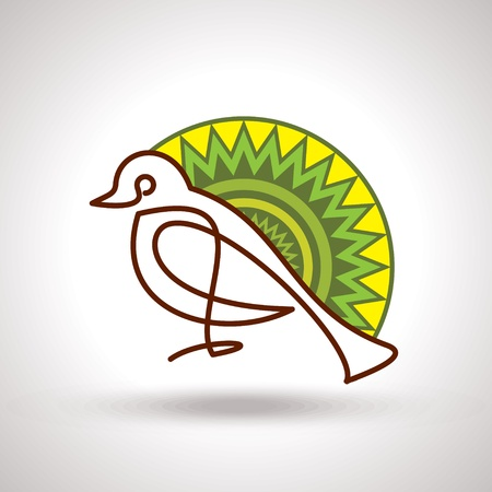 Retro decorated bird Vector