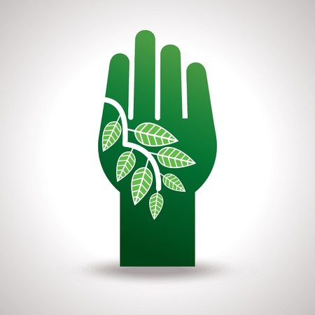 protected tree: Hand and leaf, Eco vector