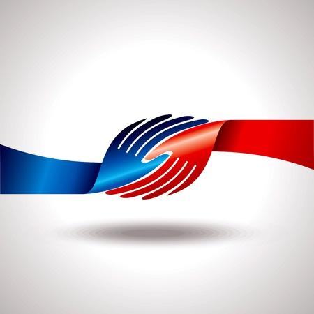 mani che si stringono: accordo globale con la mano tremante Vettoriali