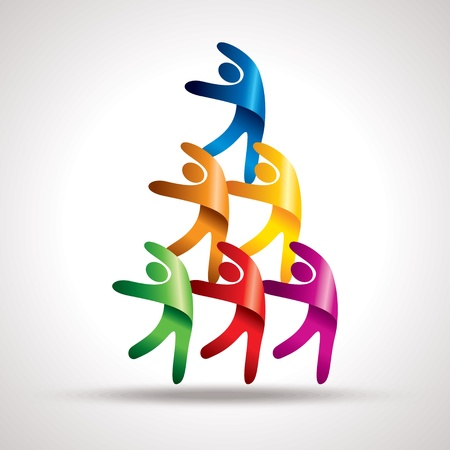 human chain: teamwork vector Illustration