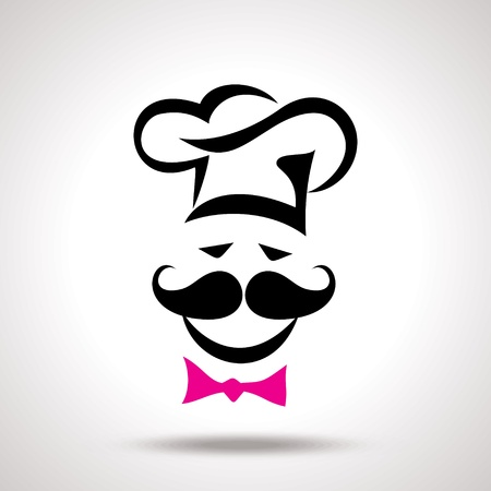 pastry shop: vector illustration of modern white chef