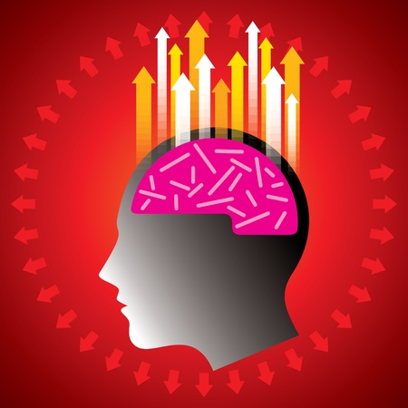 unsolvable: Thoughts and options, vector illustration of head with arrow