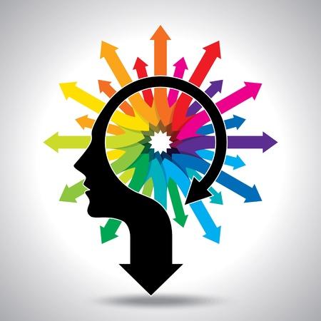 Gedachten en opties, vector illustratie van het hoofd met pijl