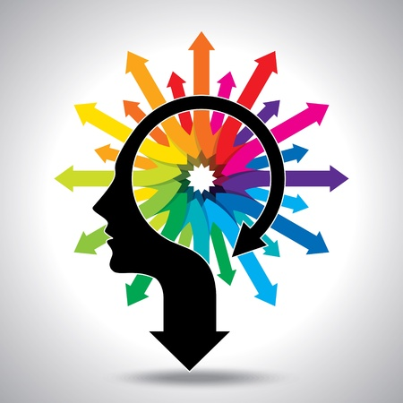 Pensamientos y opciones, ilustración vectorial de la cabeza con la flecha