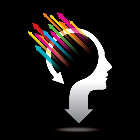 psychologist: Thoughts and options, vector illustration of head with arrow