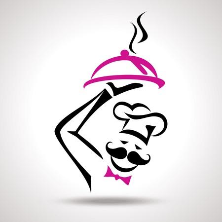 chef caricatura: ilustración vectorial de blanco del cocinero moderno