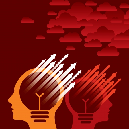 helplessness: Thoughts and options, vector illustration of head with arrow