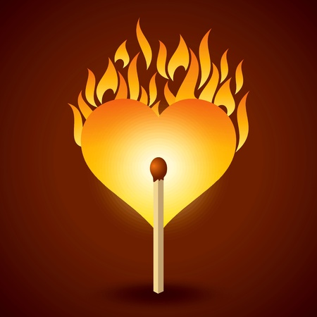 flaming heart: vector illustration of flaming heart at fire