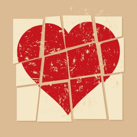 vintage broken heart Vector