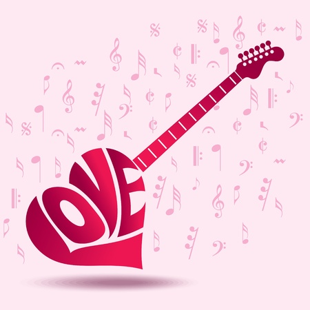 Abstract musical background for love Vector