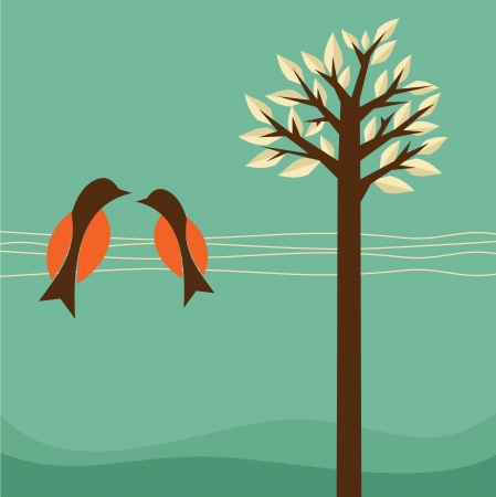 Background with birds and tree, vector illustration Vector