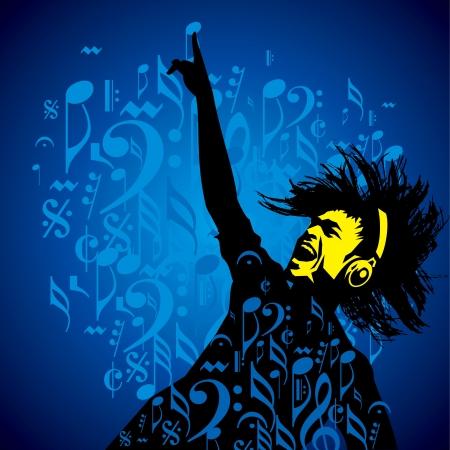 Zusammenfassung musikalischen Hintergrund für Musik-Event-Design Illustration