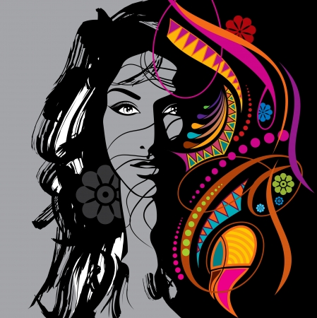 creative fashion beautiful woman Vector