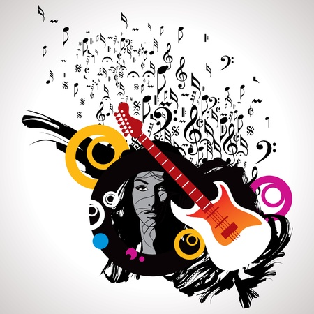 bass guitar: Abstract musical background for music event design Illustration