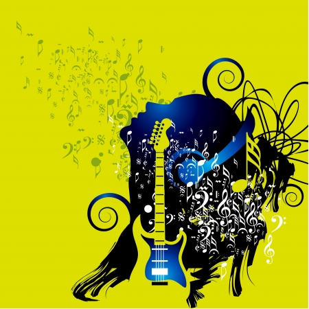musician silhouette: Abstract musical background for music event design Illustration