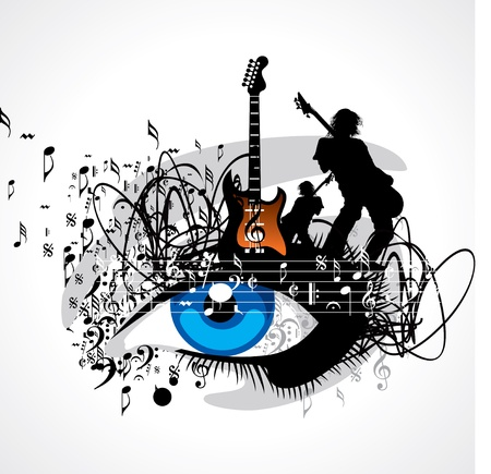 guitarists: Abstract musical background for music event design Illustration