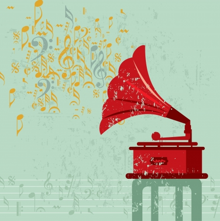 phonograph: vintage banner with gramophone  vector illustration