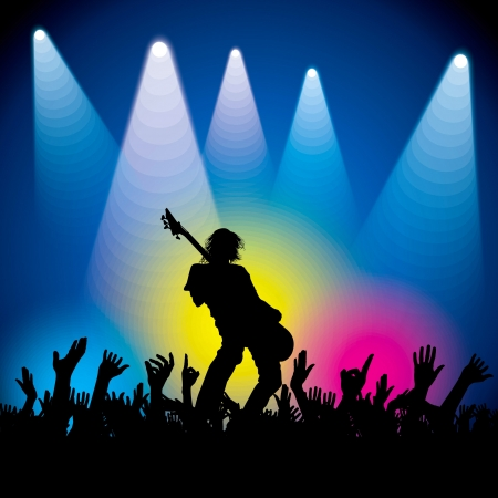 rock guitarist: musical background vector