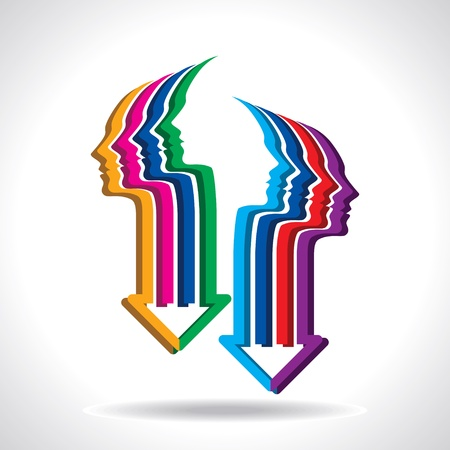 Gedanken und Optionen, Vektor-Illustration des Kopfes mit Pfeil