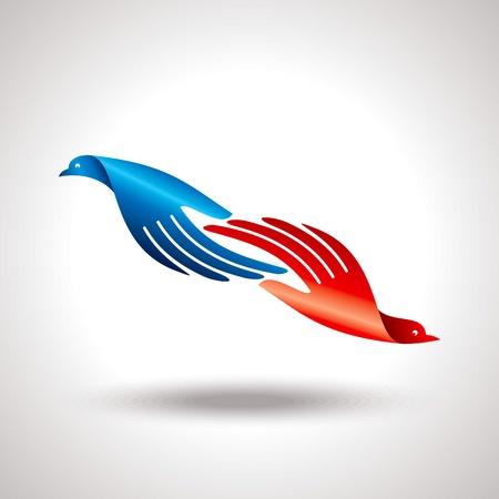 colomba della pace: volo di uccello a portata di mano idea creativa
