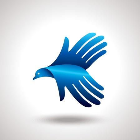 simbolo della pace: volo di uccello a portata di mano idea creativa