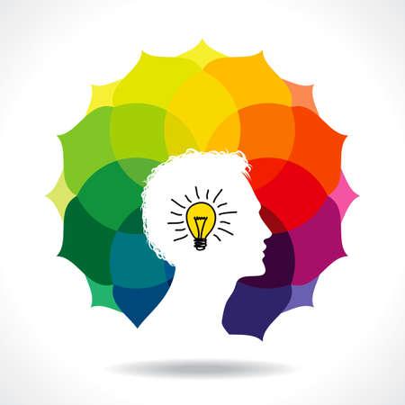 mente humana: pensar en una idea creativa Vectores