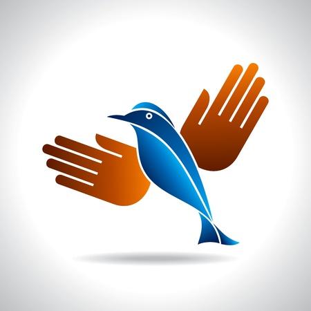 fly of bird to hand  creative idea Stock Vector - 20881479