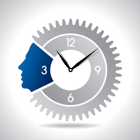 human head with clock gear Vector