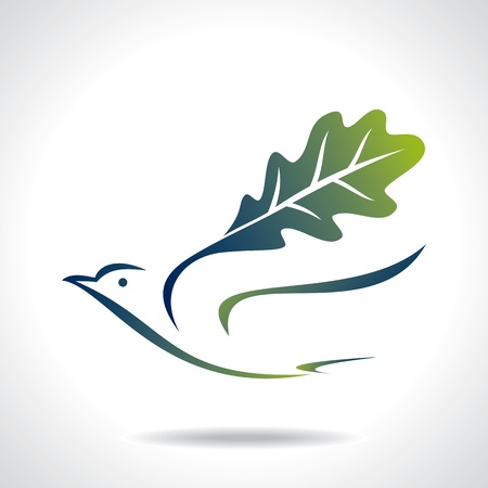 flying green bird, save green Vector