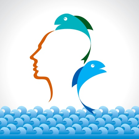 human head with fish concept Illustration